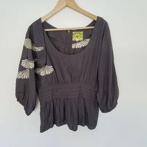 Anthropologie Floreat Gray Floral Kimono Blouse 10